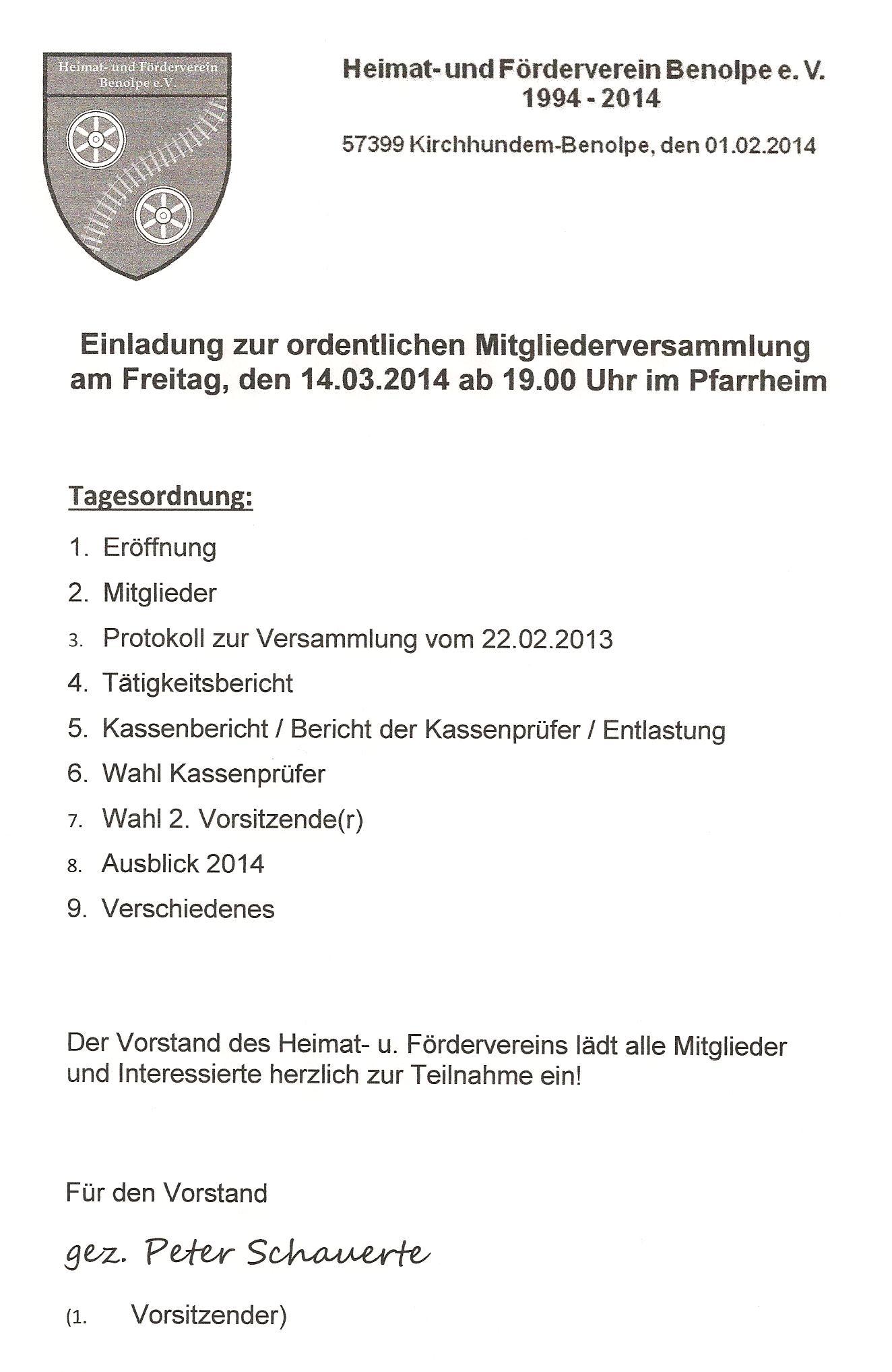 heimat- und förderverein | benolpe.de, Einladung